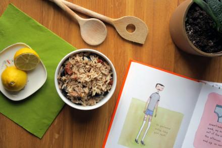 Schnell zubereitet, der Thunfisch-Reis-Salat