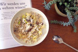 Lecker, glutenfrei und vegan ist diese Frühstücks-Bowl mit Apfel, Quinoa und Chia-Samen.