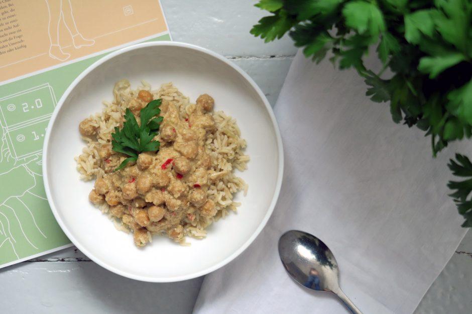 Heute auf dem Teller: Ein glutenfreies und veganes Kichererbsenkorma