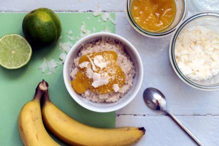 Kokos-Milchreis mit Mango-Mus - glutenfrei, vegan, lecker